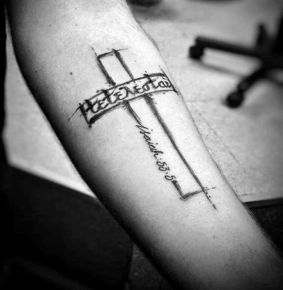 Sketched Cross With Tetelestai Inner Forearm Tattoo Ideas For Men