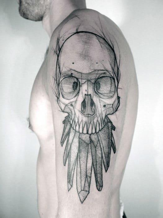 Sketched Crystal Skull Guys Arm Tattoos