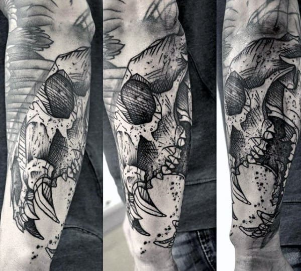Sketched Guys Bear Skull Outer Forearm Tattoo