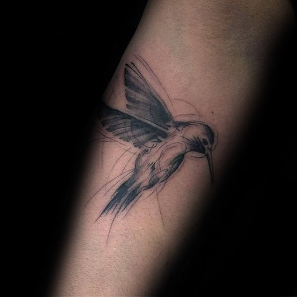 Sketched Guys Hummingbird Inner Forearm Tattoo Designs