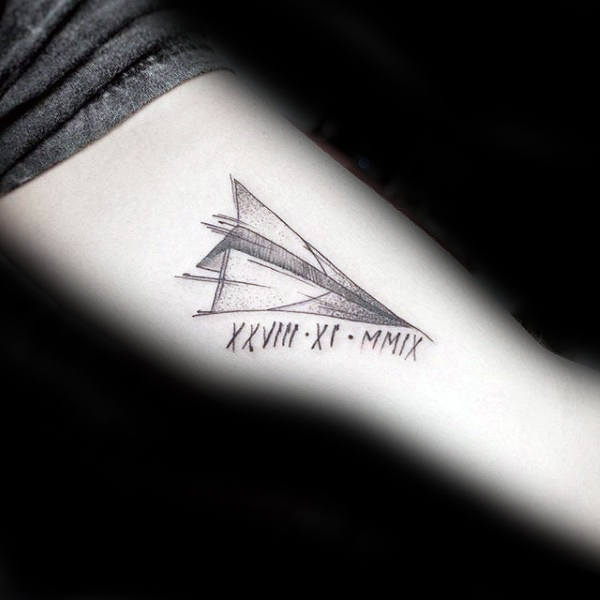 Sketched Guys Paper Airplane Tattoo With Roman Numerals