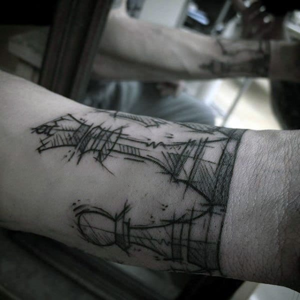Sketched King Chess Piece Mens Armband Tattoo