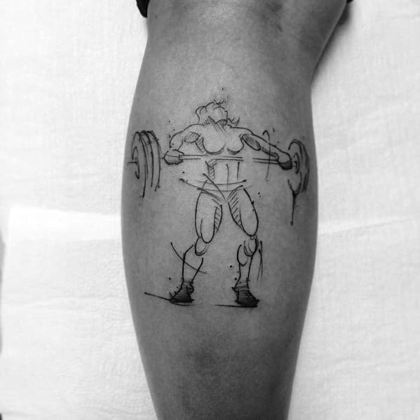 Sketched Leg Calf Mens Tattoo Designs Crossfit Themed
