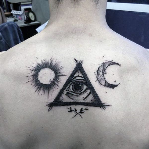 Sketched Male Eye Of Providence Upper Back Tattoo