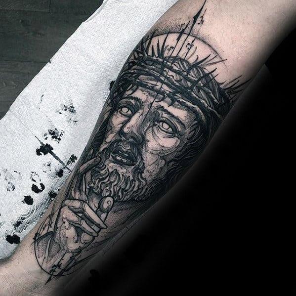 Sketched Mens Jesus Catholic Forearm Tattoo