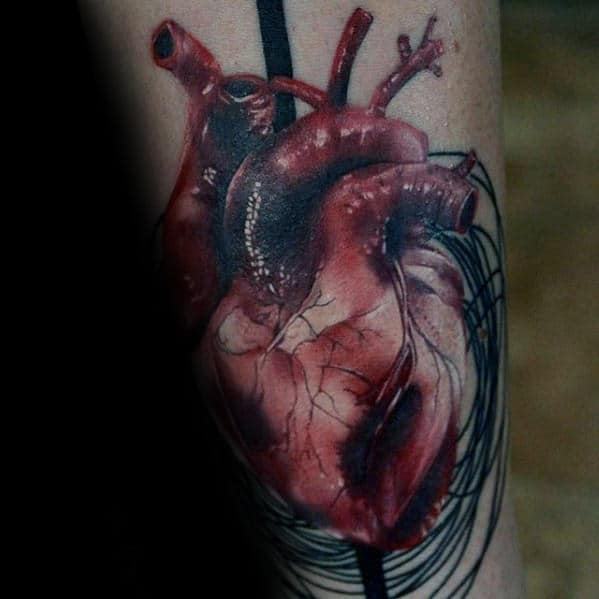 Sketched Mens Realistic Heart Inner Forearm Tattoos