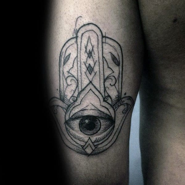 Sketched Mens Tricep Hamsa Tattoos