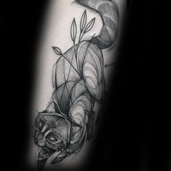 Sketched Shaded Male Raccoon Forearm Tattoo Designs