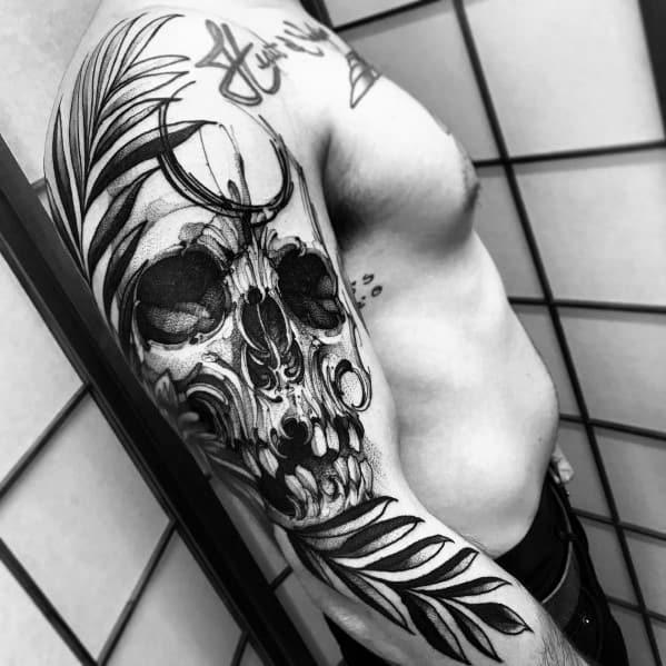 Sketched Skull Arm Mens Tattoos Big