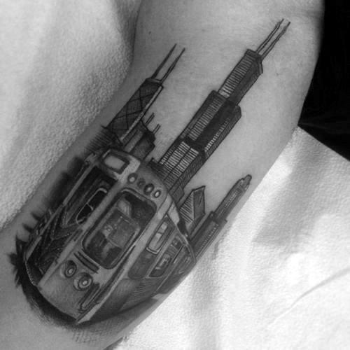Sketched Skyline Chicago City Mens Arm Tattoo Designs