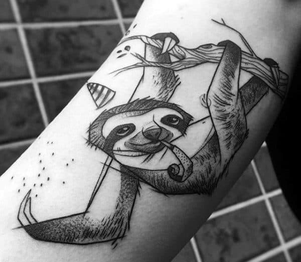 Sketched Sloth Mens Inner Arm Tattoos