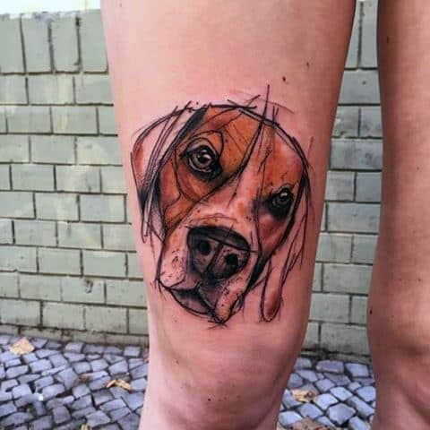 Sketched Style Dog Tattoo For Gentlemen On Leg
