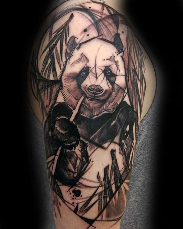 Sketched Style Panda Half Sleeve Tattoos For Men