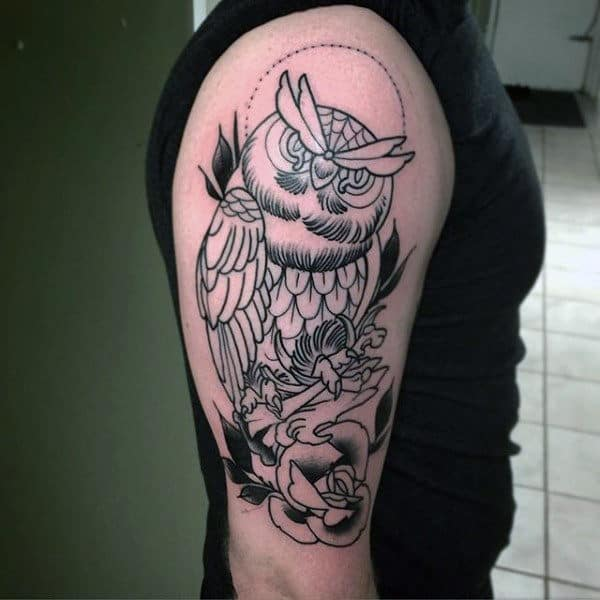 Sketched Style Traditional Male Owl With Rose Arm Tattoos