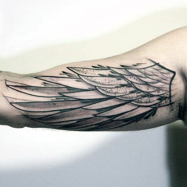 Sketched Watercolor Angel Wing Mens Unique Inner Arm Bicep Tattoo