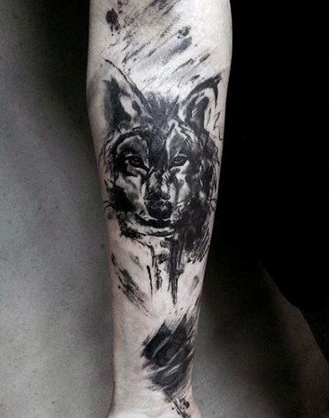 Sketched Wolf Watercolor Forearm Tattoos For Men