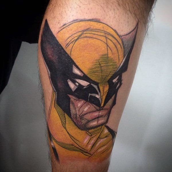 Sketched Wolverine Mens Leg Tattoo