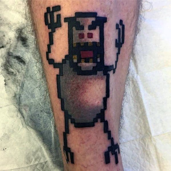 Ski Video Game Guys Old School 8 Bit Shin Tattoo