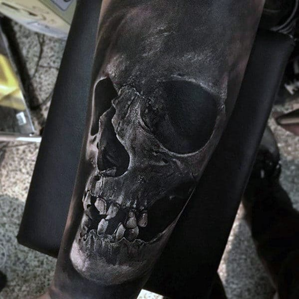 Skull 3d Guys Hyper Realistic Forearm Sleeve Tattoo Ideas