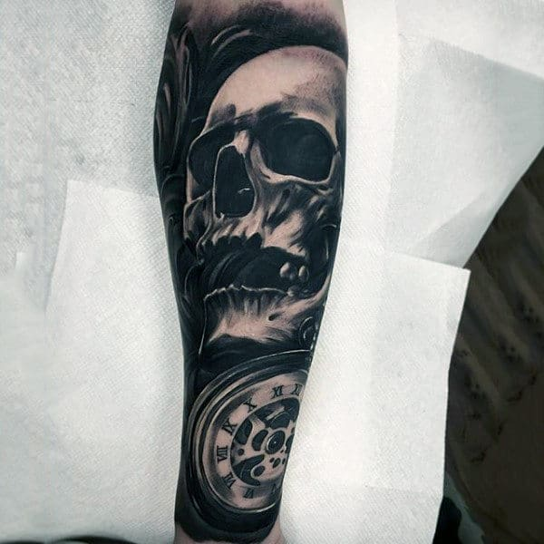 Skull 3d Mens Forearm Sleeve Tattoos