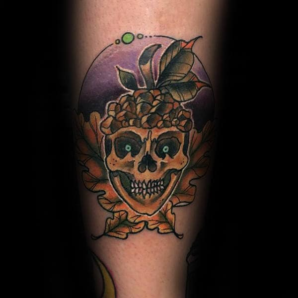 Skull Acorn Mens Arm Tattoos