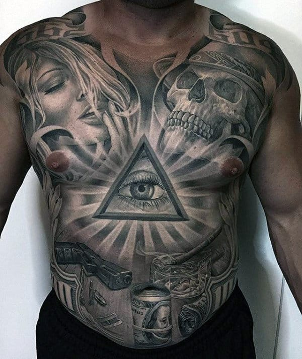 Skull All Seeing Eye Sun Rays Male Tattoo On Chest