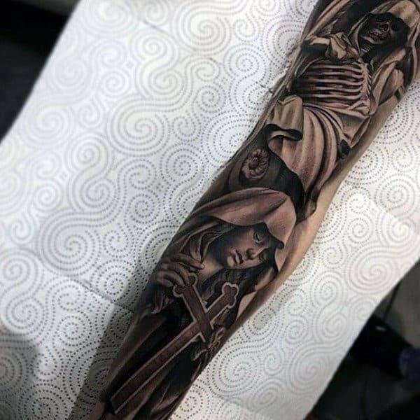 Skull And Angel Religious Tattoo Male Full Sleeves