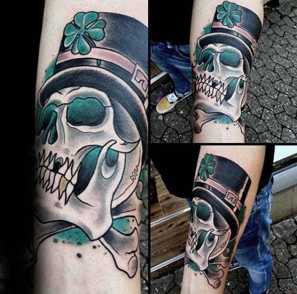 Skull And Cross Bone Mens Irish Themed Inner Forearm Tattoos
