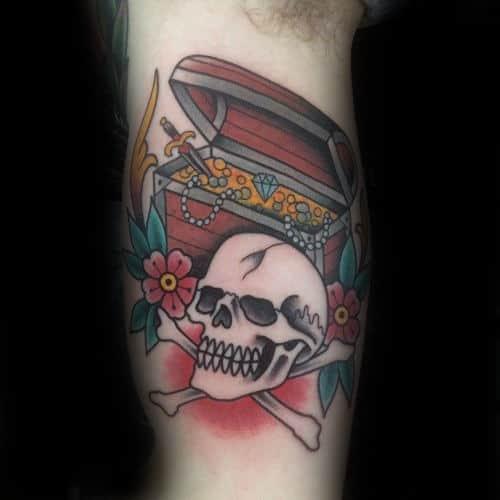 Skull And Cross Bones With Treasure Chest Guys Inner Arm Bicep Tattoo Designs