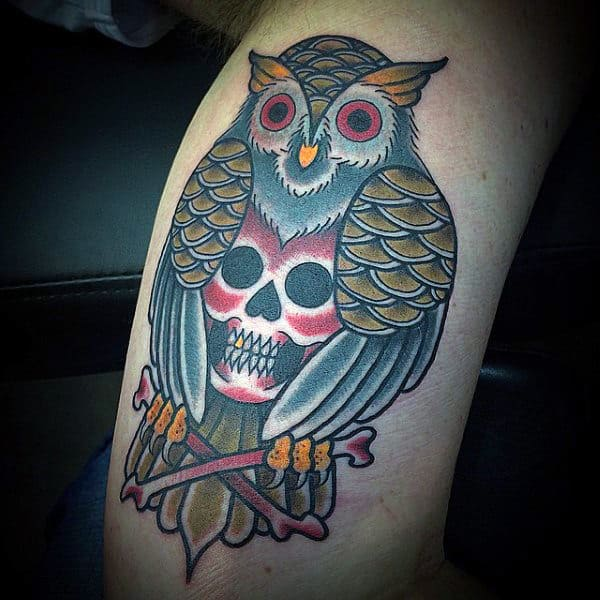 Skull And Crossbones Owl Traditional Guys Inner Arm Bicep Tattoos