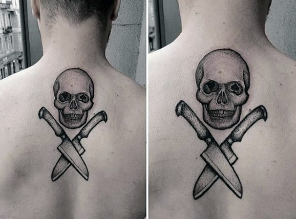 Skull And Crossed Knives Dotwork Tattoo Male Back