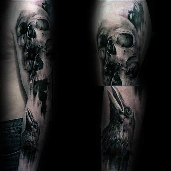 Skull And Crow Brush Stroke Mens Sleeve Tattoos