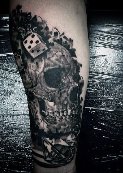 Skull And Dice Tattoos For Males