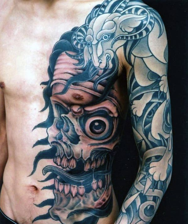 Skull And Dragon Men's Chest Tattoo