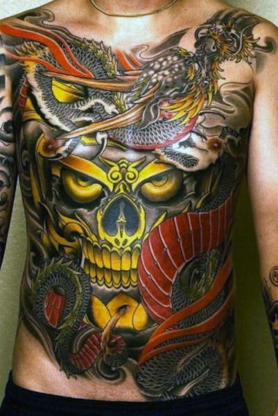 Skull And Dragon Stomach Mens Japanese Tattoo Designs