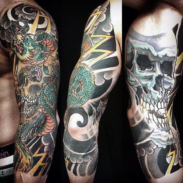 100 dragon sleeve tattoo designs for men fire breathing for Male sleeve tattoo ideas