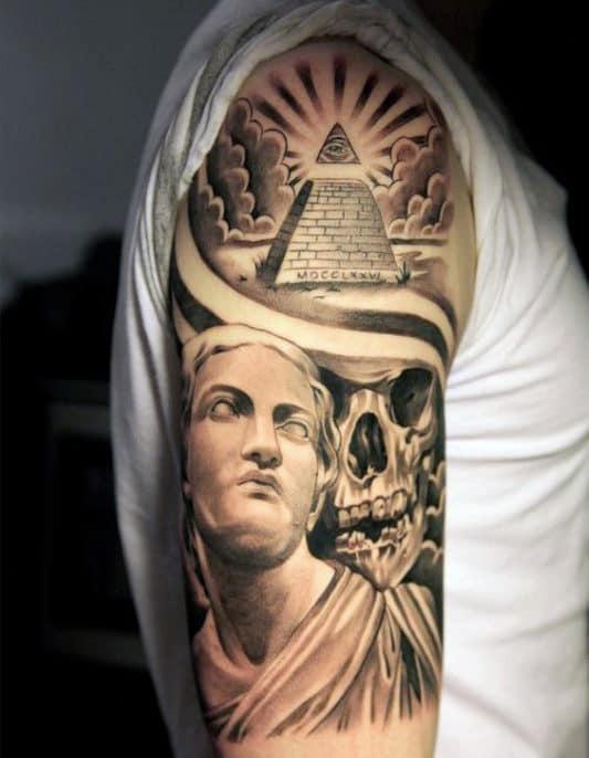 Skull And God Illuminati Tattoo Male Arms