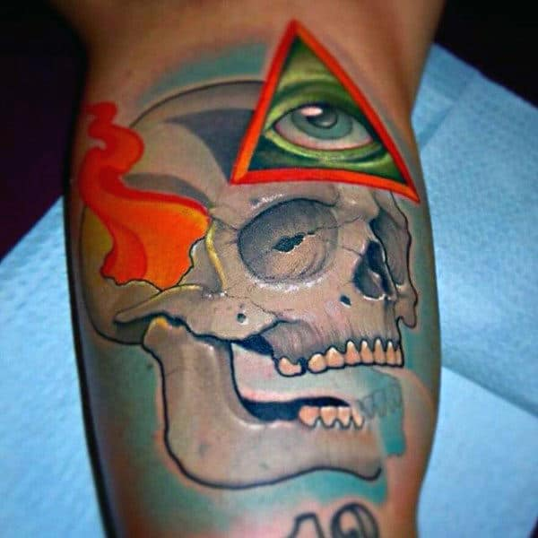 Skull And Green Eye In Triangle Tattoo Male Forearms New School