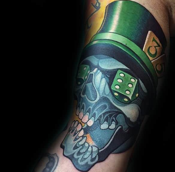 Skull And Green Hat New School Tattoo Male Forearm