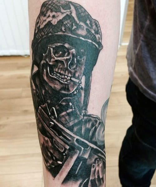 Military Skull And Guns Men's Tattoos