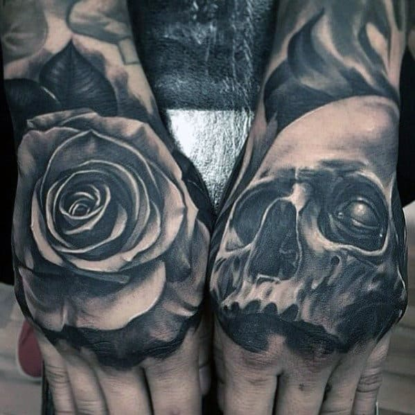 Skull And Rose Flower Mens 3d Hand Tattoo