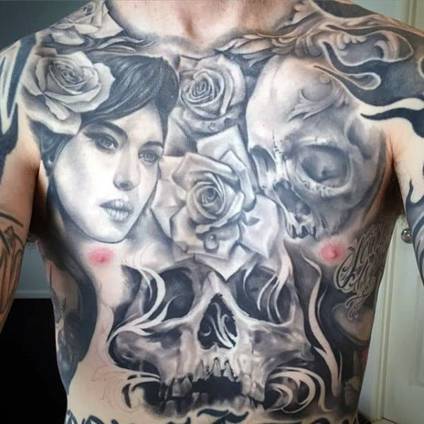 Skull And Rose Flower Tattoos On Stomach Men
