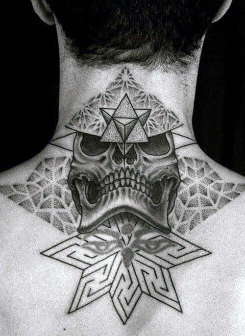 Skull And Stars Back Of Neck Men's Tattoos