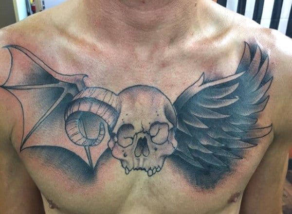 Skull Angel Wings Tattoo On Chest Men