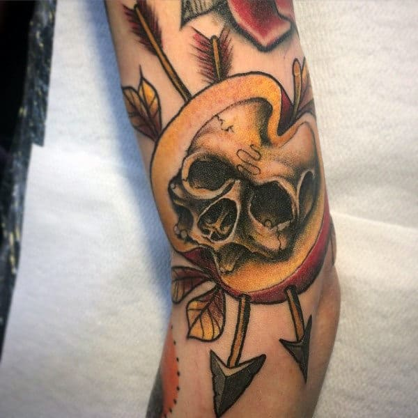 Skull Apple With Arrows Mens Arm Tattoo Ideas