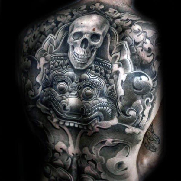 Skull Back Guys Tattoos