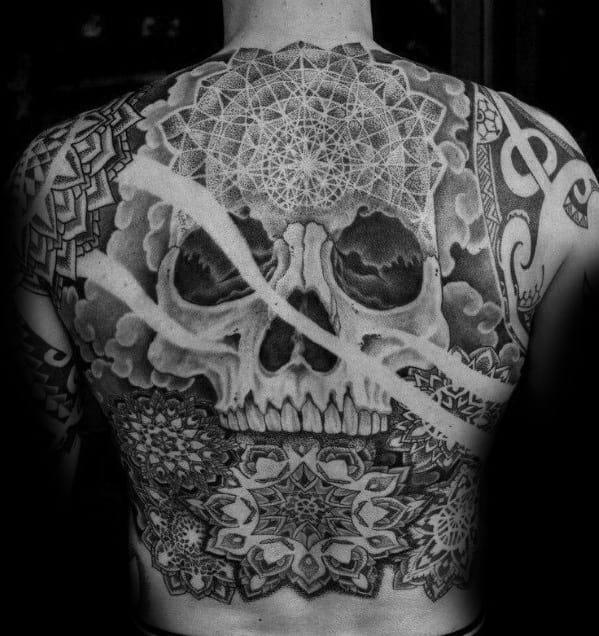 Skull Back Male Tattoos