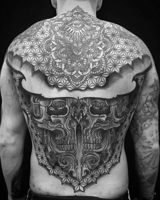 Skull Back Mandala Tattoo Designs On Gentleman