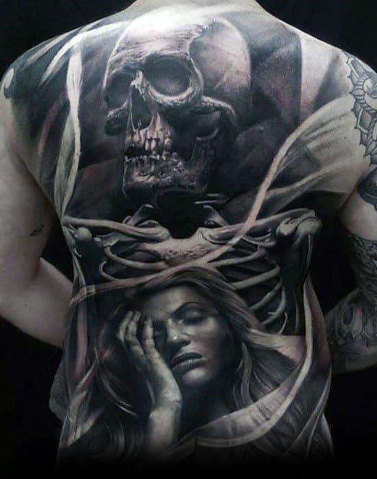 Skull Back Mens Tattoo Designs
