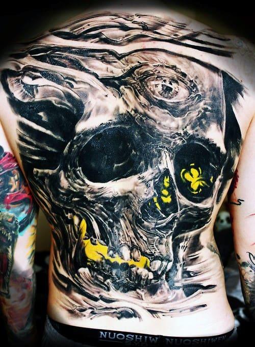 Skull Back Tattoo Ideas For Males